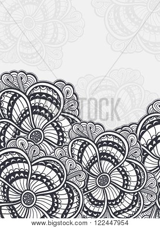 Background with  Zen-doodle or Zen-tangle flowers black on white for coloring page or relax coloring book or wallpaper or for decorate package clothes or different things