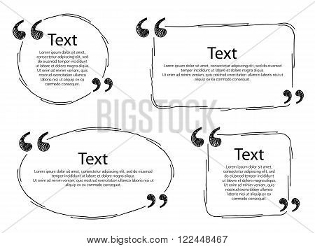 Quote frames templates set vector illustration. Hand drawn scribble design.