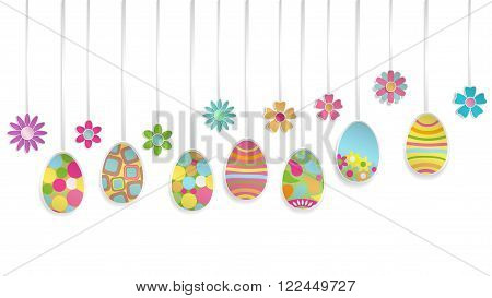 Hanging Paper Easter Eggs And Flowers