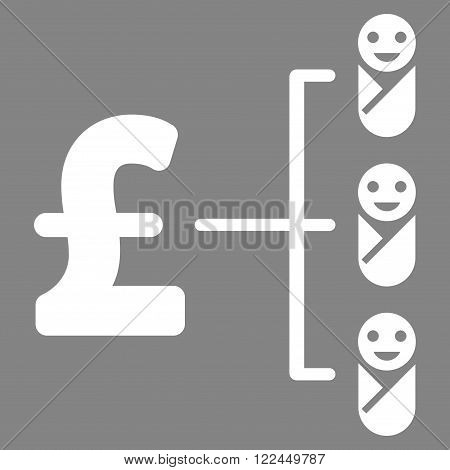 Baby Pound Budget vector icon. Baby Pound Budget icon symbol. Baby Pound Budget icon image. Baby Pound Budget icon picture. Baby Pound Budget pictogram. Flat baby pound budget icon.