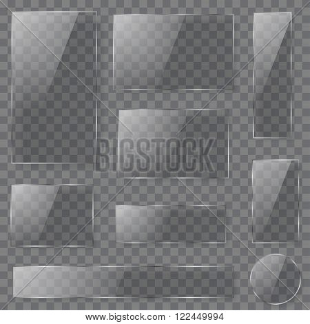 Transparent Glass Plates In Dark Colors. Transparency Only In Vector Format