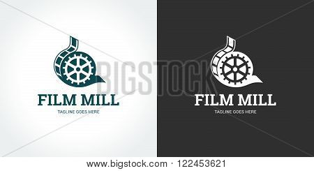 Fil Mill logo template on dark and light backgrounds