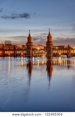 The lovely Oberbaum Bridge in Berlin at dawn
