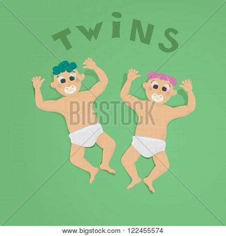 illustration of twins on a greem background