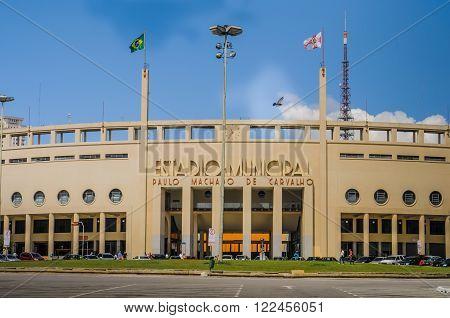 SAO PAULO BRAZIL - APRIL 2012: Pacaembu Municipal Stadium in Sao Paulo Brazil.