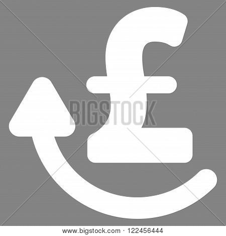 Repay Pound vector icon. Repay Pound icon symbol. Repay Pound icon image. Repay Pound icon picture. Repay Pound pictogram. Flat repay pound icon. Isolated repay pound icon graphic.