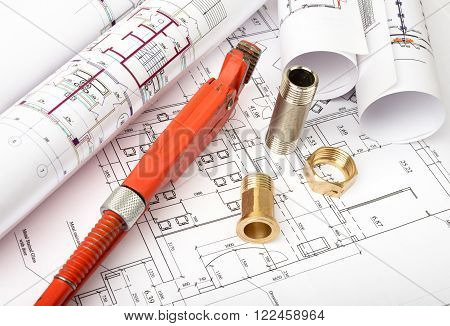 Architecture plan with turn-screw and mixer tap. Building concept