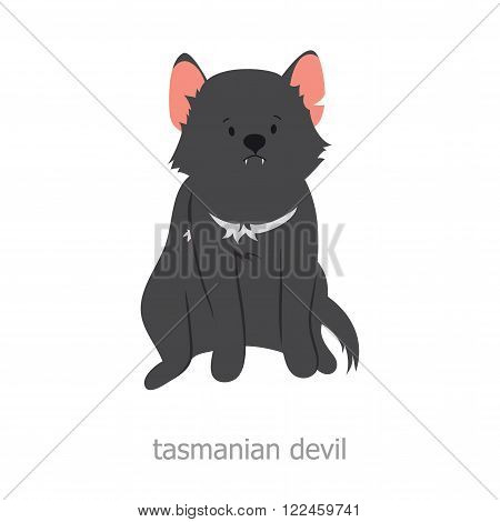 Tasmanian devil. Cartoon character. Australian endemic. Zoo illustration. The fauna of the Australian continent. Wild animal. Cute tasmanian devil. Symbol of country.