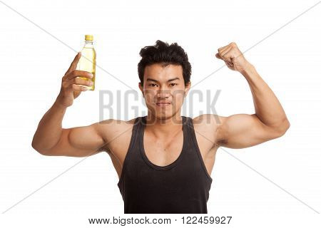 Muscular Asian man flexing biceps with electrolyte drink isolated on white background poster