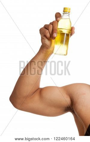 Muscular Asian man's arm flexing biceps with electrolyte drink isolated on white background poster