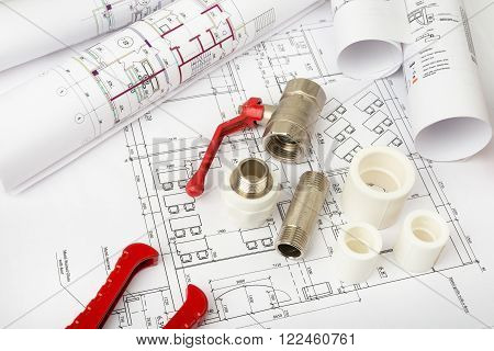Architecture plan with red  turn-screw and mixer tap, top view. Building concept