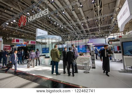 HANNOVER, GERMANY - MARCH 14, 2016: Booth of Huawei company at CeBIT information technology trade show in Hannover, Germany on March 14, 2016.