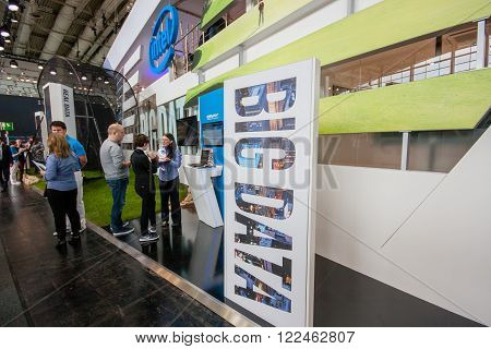 HANNOVER GERMANY - MARCH 14 2016: Big Data stand in booth of Intel Corporation at CeBIT information technology trade show in Hannover Germany on March 14 2016.