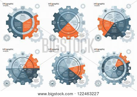 Vector gear wheel cogwheel circle infographic set. Templates for business and industry with 3,4,5,6,7,8 processes, options, parts, steps. Can be used for infographics, diagram, graph, presentation.