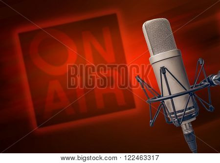professional microphone in the radio studio and the words