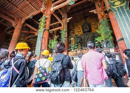 NARA-May 25: The great Buddha hall of Todaiji temple on May 25 , 2015 in Nara, Japan. This hall is the house of the world's largest bronze statue of the Buddha known in Japanese simply as Daibutsu.