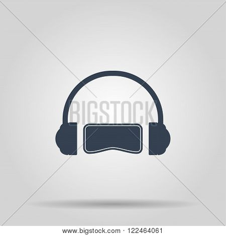 Virtual reality gaming and entertainment headset icon poster