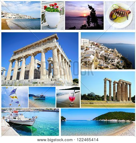 collage Greece - collection of greek photos with island landscapes, greek ancient landmarks and beaches