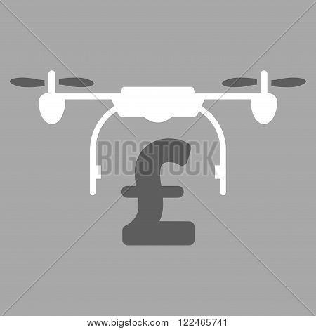 Drone Pound Business vector icon. Drone Pound Business icon symbol. Drone Pound Business icon image. Drone Pound Business icon picture. Drone Pound Business pictogram. Flat drone pound business icon.