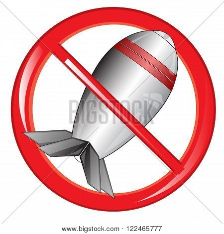 Red sign prohibiting weapon projectile on white background