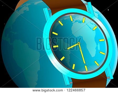 wristwatch worn on planet Earth showing the date of commencement of the action earth hour