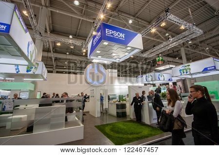 HANNOVER, GERMANY - MARCH 14, 2016: Booth of Epson company at CeBIT information technology trade show in Hannover, Germany on March 14, 2016.