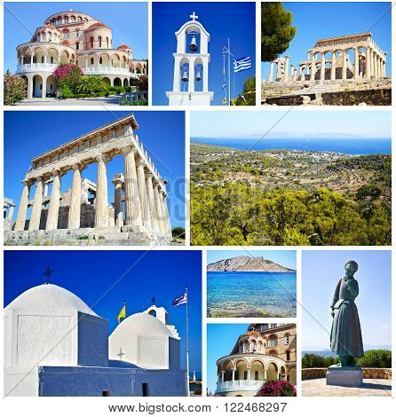 collage of Aegina island Greece - saint Nectarios church - temple of Aphaia