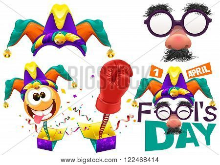 Fools cap smile on spring. Funny glasses nose. April Fools Day lettering text for greeting card. 1 April Fools Day. Isolated on white vector illustration