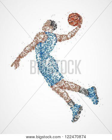 Abstract basketball player in jump of multicolored circles. Photo illustration.