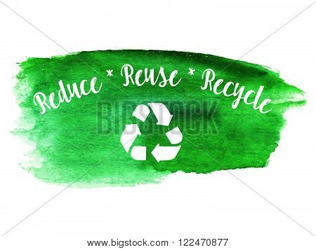 Ecology green logotype on abstract watercolor paint blot isolated on a white background. Vector watercolor ecology themed icon. Recycle green environmental concept.