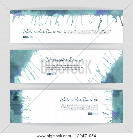 Set of hand painted watercolor horizontal banners headers. Colorful abstract blue pastel brush stocks and splashes on a white backgrounds. Modern style graphic design template. Marketing concept.
