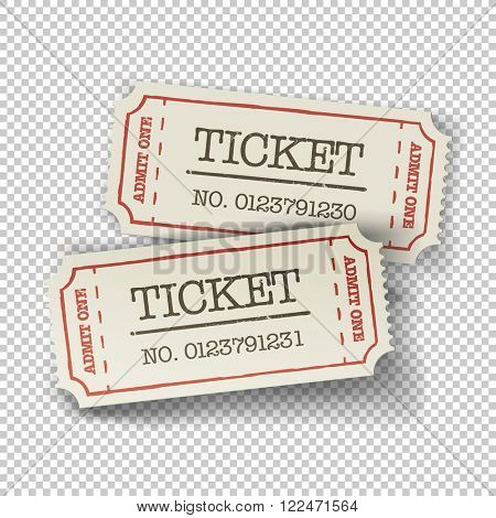 Two cinema tickets (pair). Isolated on transparent background. Raster version