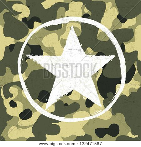 Military star on camouflage pattern. Raster version