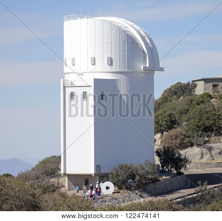 TUCSON, ARIZONA, FEBRUARY 28. Kitt Peak National Observatory on February 28, 2016, near Tucson, Arizona. A group tours the Steward Observatory at Kitt Peak National Observatory near Tucson Arizona.
