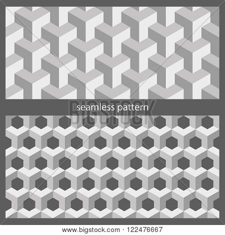 set of seamless textures. a sample - an abstract pattern from cubes. vector illustration.