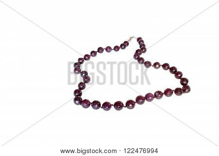 beads of amethyst.  Isolate on white background