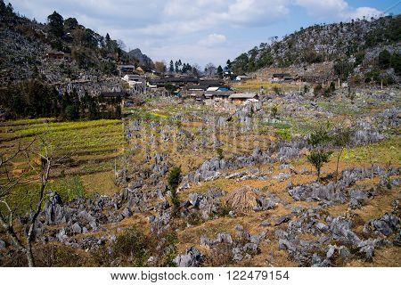 A village in Dong Van karst plateau global geological park, Hagiang, Vietnam