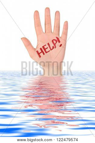 Hand help in water isolated on white background