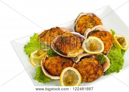 Stuffed Clams Isolated on white background. Selective focus.