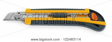 Yellow box cutter isolated on white background