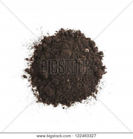 Heap of soil humus, isolated on white background. Pile of black earth.