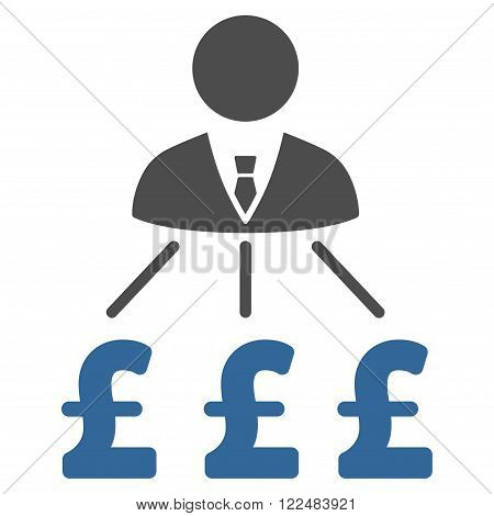 Businessman Pound Expenses vector icon. Businessman Pound Expenses icon symbol. Businessman Pound Expenses icon image. Businessman Pound Expenses icon picture. Businessman Pound Expenses pictogram.