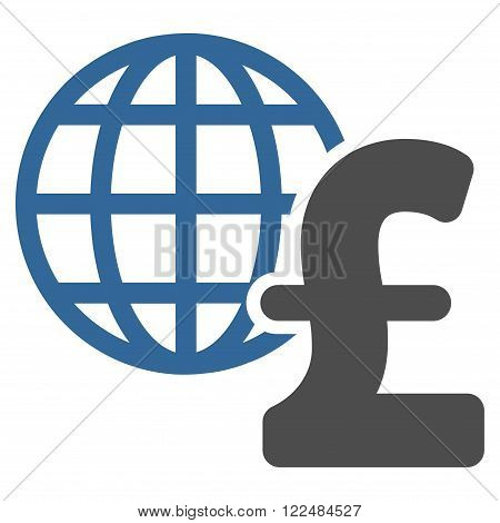 Global Pound Economics vector icon. Global Pound Economics icon symbol. Global Pound Economics icon image. Global Pound Economics icon picture. Global Pound Economics pictogram.