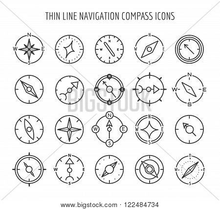 Linear compass icons. Thin line navigation compass icons on white backgroung. Vector illustration