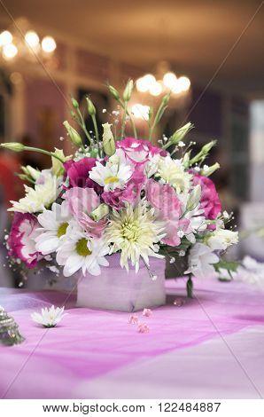 Pink wedding reception detail. fresh flower decoration