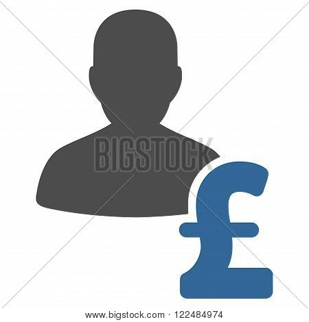 Person Pound Loan vector icon. Person Pound Loan icon symbol. Person Pound Loan icon image. Person Pound Loan icon picture. Person Pound Loan pictogram. Flat person pound loan icon.