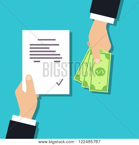 Get money for paper contract. Securities lawyer job a concept in the flat style Realtor work concept