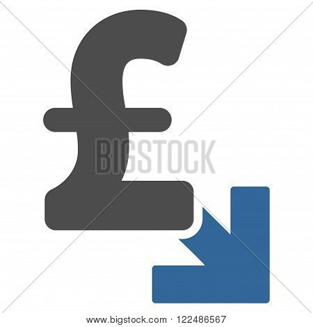 Pound Decrease vector icon. Pound Decrease icon symbol. Pound Decrease icon image.