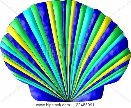 A scallop seashell decorated in the colors of the sea, green, blue, turquoise, gold