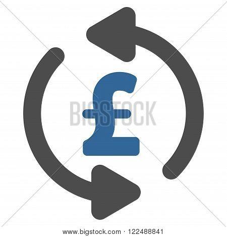 Refresh Pound Price vector icon. Refresh Pound Price icon symbol. Refresh Pound Price icon image. Refresh Pound Price icon picture. Refresh Pound Price pictogram. Flat refresh pound price icon.